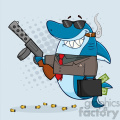 smiling shark gangster cartoon carrying a briefcase holding a big gun and smoking a cigar vector with gray halftone background gif, png, jpg, eps, svg, pdf