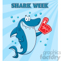 cute blue shark cartoon wearing a foam finger vector with blue sunburs background and text shark week gif, png, jpg, eps, svg, pdf