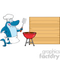 chef blue shark cartoon licking his lips and holding a spatula by a barbeque with roasted burgers to wooden blank board vector illustration gif, png, jpg, eps, svg, pdf