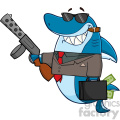smiling shark gangster cartoon carrying a briefcase holding a big gun and smoking a cigar vector  gif, png, jpg, eps, svg, pdf