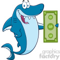 clipart happy blue shark cartoon holding a dollar bill vector  gif, png, jpg, eps, svg, pdf