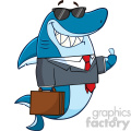 Smiling Business Shark Cartoon In Suit Carrying A Briefcase And Holding A Thumb Up Vector