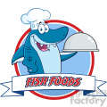 chef blue shark cartoon holding a platter over a ribbon banner vector with text fish foods  gif, png, jpg, eps, svg, pdf