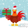 cute red rooster bird cartoon with santa hat holding gifts vector flat design with snow background  gif, png, jpg, eps, svg, pdf