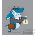smiling business shark cartoon in suit carrying a briefcase and holding a money bag vector with gray halftone background gif, png, jpg, eps, svg, pdf