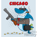 smiling shark gangster cartoon carrying a briefcase holding a big gun and smoking a cigar vector with gray halftone background and text chicago gif, png, jpg, eps, svg, pdf