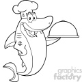 clipart black and white chef blue shark cartoon holding a platter vector  gif, png, jpg, eps, svg, pdf