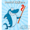 smiling blue shark cartoon holding a toothbrush with paste vector with blue sunburs background and text dental hygiene gif, png, jpg, eps, svg, pdf