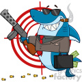 smiling shark gangster cartoon carrying a briefcase holding holding a submachine gun in front of a target vector illustration gif, png, jpg, eps, svg, pdf