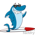 clipart smiling blue shark cartoon with sunglasses surfing and waving vector with background  gif, png, jpg, eps, svg, pdf