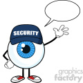 Blue Eyeball Cartoon Mascot Character Security Guard Waving For Greeting With Speech Bubble Vector