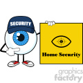 blue eyeball cartoon mascot character security guard pointing a home security sign banner vector  gif, png, jpg, eps, svg, pdf