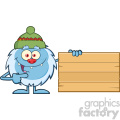 Cute Little Yeti Cartoon Mascot Character With Hat Pointing To A Wooden Blank Sign Vector
