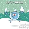 happy little yeti cartoon mascot character jumping up with open arms vector with snow montains background with text let it snow gif, png, jpg, eps, svg, pdf