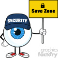 Blue Eyeball Cartoon Mascot Character Security Guard Holding Up A Save Zone Sign Vector