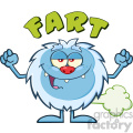 Smiling Little Yeti Cartoon Mascot Character Farting Vector With Text Fart