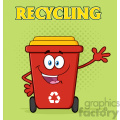 Happy Red Recycle Bin Cartoon Mascot Character Waving For Greeting Vector With Green Halftone Background And Text Recycling