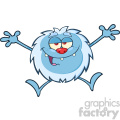 Happy Little Yeti Cartoon Mascot Character Jumping Up With Open Arms Vector