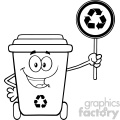 Black And White Cute Recycle Bin Cartoon Mascot Character Holding A Recycle Sign Vector