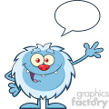Cute Little Yeti Cartoon Mascot Character Waving For Greeting With Speech Bubble Vector