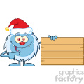 happy little yeti cartoon mascot character with santa hat pointing to a wooden blank sign vector  gif, png, jpg, eps, svg, pdf