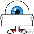 blue eyeball guy cartoon mascot character holding a blank sign vector  gif, png, jpg, eps, svg, pdf