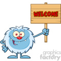 smiling little yeti cartoon mascot character holding up a welcome wooden sign vector  gif, png, jpg, eps, svg, pdf