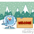 cute little yeti cartoon mascot character pointing to a welcome wooden sign vector with winter background gif, png, jpg, eps, svg, pdf