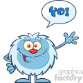 Cute Little Yeti Cartoon Mascot Character Waving For Greeting With Speech Bubble And Text Yo! Vector