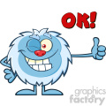 cute little yeti cartoon mascot character winking and holding a thumb up vector with text ok!  gif, png, jpg, eps, svg, pdf