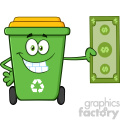 Smiling Green Recycle Bin Cartoon Mascot Character Holding A Dollar Bill Vector