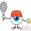 Blue Eyeball Guy Cartoon Mascot Character Holding A Tennis Ball And Racket Vector