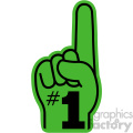 green with black number one hand vector clip art