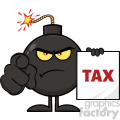 10808 Royalty Free RF Clipart Angry Bomb Cartoon Mascot Character Pointing And Holding A Tax Sign Form Vector Illustration