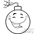 10831 royalty free rf clipart black and white happy bomb face cartoon mascot character with smiling expressions vector illustration gif, png, jpg, eps, svg, pdf