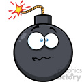 10830 Royalty Free RF Clipart Nervous Bomb Face Cartoon Mascot Character With Expressions Vector Illustration
