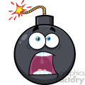 10822 Royalty Free RF Clipart Funny Bomb Face Cartoon Mascot Character With Expressions A Panic Vector Illustration
