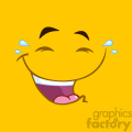 10899 Royalty Free RF Clipart Laugh Cartoon Square Emoticons With Smiley Expression Vector With Yellow Background