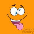 10874 Royalty Free RF Clipart Mad Cartoon Funny Face With Crazy Expression And Protruding Tongue Vector With Orange Background