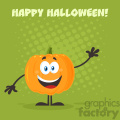 Happy Orange Pumpkin Vegetables Cartoon Emoji Character Waving For Greeting Vector Illustration Flat Design Style With Background And Text Happy Halloween