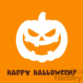 Evil Halloween Pumpkin Cartoon Emoji Face Character Vector Illustration Flat Design Style With Background And Text Happy Halloween_1