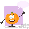 Happy Orange Pumpkin Vegetables Cartoon Emoji Character Waving For Greeting Vector Illustration Flat Design Style Isolated On White Background With Speech Bubble