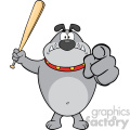 Royalty Free RF Clipart Illustration Angry Gray Bulldog Cartoon Mascot Character Holding A Bat And Pointing Vector Illustration Isolated On White Background