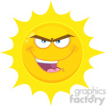 Royalty Free RF Clipart Illustration Evil Yellow Sun Cartoon Emoji Face Character With Bitchy Expression Vector Illustration Isolated On White Background