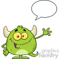 Happy Green Monster Cartoon Emoji Character Waving For Greeting With Speech Bubble Vector Illustration Isolated On White Background