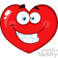 Smiling Red Heart Cartoon Emoji Face Character With Expression Vector Illustration Isolated On White Background
