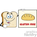 Talking Bread Slice Cartoon Mascot Character Pointing To A Sign Gluten Free Vector Illustration Isolated On White Background