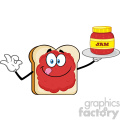 Bread Slice Cartoon Mascot Character With Jam Holding A Jar Of Jam Vector Illustration Isolated On White Background