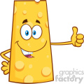 Smiling Cheese Cartoon Mascot Character Showing Thumbs Up Vector Illustration Isolated On White Background