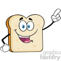 Cute Bread Slice Cartoon Mascot Character Pointing Vector Illustration Isolated On White Background